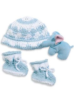 This adorable crochet hat and bootie set will keep the new little guy's head and footsies cozy and warm.  This pattern will fit sizes 6 to 12 months.  Here it is shown in Bernat Wonder White and Little Boy Blue but you can try any color combination!