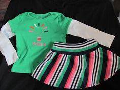 Gymboree Green Brillant Top Striped Knit Skirt 5T Brightest In Class