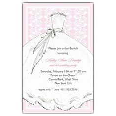Brides Dress Pink Bridesmaids Luncheon Invitations | PaperStyle