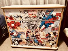 Upcycled set of drawers Diy Kids Furniture, Hand Painted Furniture, Funky Furniture, Refurbished Furniture, Marvel Nursery, Marvel Bedroom, Avengers Bedroom, Boys Superhero Bedroom, Superhero Room Decor
