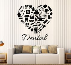 Vinyl Wall Decal Dental Clinic Heart Dentist Dentistry Stickers Mural Unique Gift in X 24 in / Black Dental Logo, Dental Art, Dental Hygiene, Clinic Interior Design, Clinic Design, Vinyl Wall Decals, Wall Sticker, Dentist Clinic, Dental Office Decor