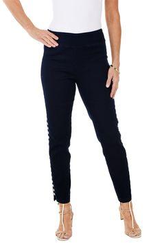 Denim Lattice Pull-On Ankle Pant