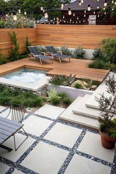38 Cozy Backyard Patio Design Ideas - Popy Home Hot Tub Backyard, Cozy Backyard, Small Backyard Landscaping, Landscaping Ideas, Hot Tub Deck, Pavers Ideas, Backyard Beach, Stone Landscaping, Sloped Backyard