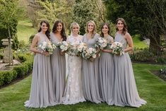 Beautiful Silver Bridesmaids Dresses hand beaded in Diamond for Emily Grey Wedding Stationery, Grey Wedding Decor, Grey Weddings, Wedding Ideas, Kilt Wedding, Wedding Bells, Wedding Gowns, Grey Dress Bridesmaid, Wedding Bridesmaids