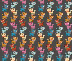cat stack gray fabric by heidikenney on Spoonflower - custom fabric