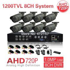 CCTV 8CH AHD 720P 1200TVL Outdoor Security Camera System 1080P HDMI CCTV Video Surveillance DVR HDMI AHD Camera Set P2P View #Affiliate