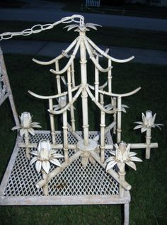 Vintage Hollywood Regency Faux Bamboo Tole Pagoda Chandelier 6 Light