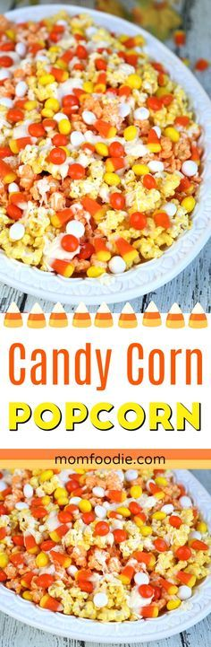 Make this Candy Corn Popcorn recipe for your next fall gathering. The festive fall popcorn snack mix is perfect for both Thanksgiving and Halloween celebrations as well. #fallfood #candycorn