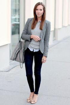 gray blazer with skinny pants