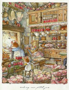 'Making Rose Petal Jam'- Illustration by Jill Barklem, a British writer and illustrator of children's books. Her most famous work is the Brambly Hedge series, published from Brambly Hedge, Dibujos Cute, Beatrix Potter, Children's Book Illustration, Book Illustrations, Whimsical Art, Hedges, Childrens Books, Illustrators