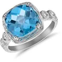 Blue Nile Blue Topaz and Diamond Cushion Ring in Brushed 14k White... ($695) ❤ liked on Polyvore