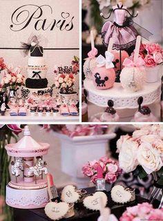 Muita inspiração nesta festa pink de Paris. Podendo set usada para a comemoração de 15 anos.