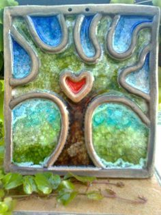 Slab tile and coil design filled with glass for a fun wall hanging sculpture! Ceramic Clay, Ceramic Painting, Ceramic Pottery, Clay Art Projects, Ceramics Projects, Ceramic Techniques, Pottery Techniques, Pottery Workshop, Hand Built Pottery