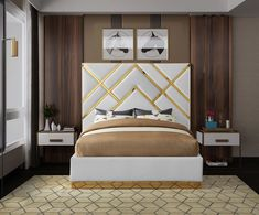Meridian Furniture Vector Cream Gold metal / cream velvet contemporary king bed Take your bedroom space to a Bedroom Bed Design, Bedroom Furniture Design, Bed Furniture, Modern Bedroom, Modern Furniture, Modern Beds, Multifunctional Furniture, Contemporary Bedroom, Furniture Ideas