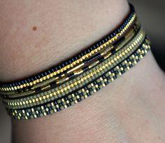 Set van 5 handgemaakte armbandjes met Miyuki kraaltjes  Gold