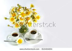 Two cups of coffee and a bouquet of camomiles on a white background