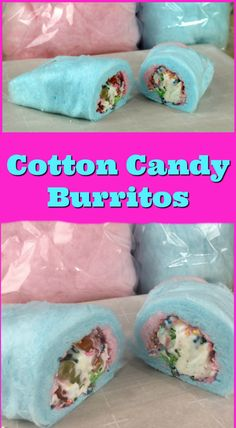 See how to make this delicious cotton candy burrito. - cotton candy - ice cream - sprinkles - gummy bears