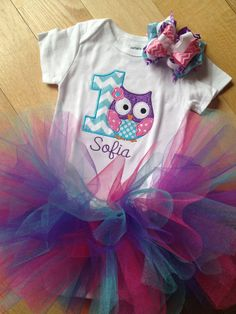 1st birthday owl bodysuit with name, colorful tutu, and matching hair bow in chevron on Etsy, $42.25 AUD