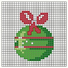 Cross stitch chart. A Green Christmas Tree Ornament. #cross_stitch