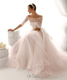 Off Shoulder Long Sleeves Ball Gown Organza Wedding Gown Wedding dress, bridal dress Trendy Wedding, Elegant Wedding, Wedding Styles, Wedding Ideas, Wedding Stuff, Designer Wedding Dresses, Bridal Dresses, Wedding Gowns, Italian Wedding Dresses
