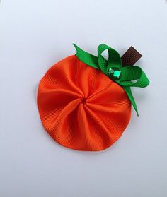Pumpkin hair bow clip on Etsy, $4.50