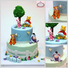 Winnie the Pooh and Friends Baby Shower Cake - All characters made of sugarpaste