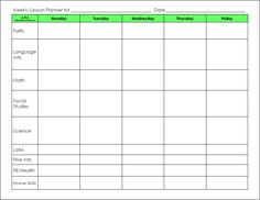 blank preschool weekly lesson plan template | lesson templates weekly planner templates unit plan templates ...