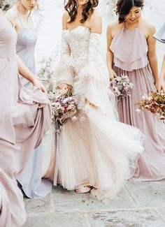 Soft, feminine bridal and bridesmaid wedding inspiration | 100 Layer Cake | Bloglovin' Pastel Bridesmaids, Spring Bridesmaid Dresses, Wedding Bridesmaids, Best Wedding Blogs, Best Wedding Dresses, Boho Wedding Dress, Bridesmaid Inspiration, Garden Wedding Inspiration, Ball Dresses