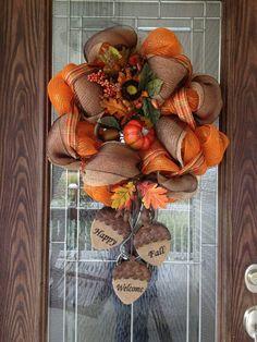 Burlap and orange Fall wreath with acorns