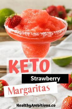Just because you are on the keto diet doesn't mean you can't enjoy the occasional adult beverage. This low-carb Strawberry Margarita is perfect for summer! Low Carb Cocktails, Fruity Cocktails, Summer Cocktails, Frozen Cocktails, Margarita Ingredients, Margarita Recipes, Low Carb Margarita Recipe, Keto Brownies, Low Carb Keto