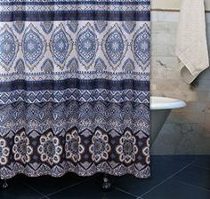 Amazon.com: Boho Chic Moroccan Paisley Pattern Navy Blue Fabric Shower Curtain: Home & Kitchen