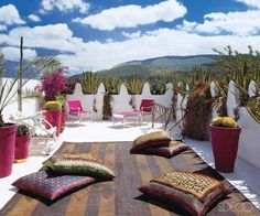 Charming Morocco Style Patio Designs , Avente's Spanish Tiles are beautifully hand-painted in a range of shades and patterns on ceramic bisque utilizing time-honored practices. The old city. Rooftop Terrace Design, Patio Design, Balcony Design, Diy Pergola, Pergola Roof, Pergola Kits, Yoga Room Design, Moroccan Interiors, Patio Pillows