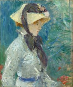 Berthe Morisot - Young Woman with a Straw Hat, 1884. Oil on canvas