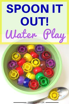 This kid's water play activity is perfect for a splish-splashing good time! It's perfect for bathtime play or outdoors. Kids love to play Spoon It Out!