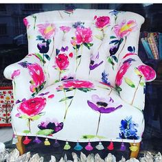 Gorgeous chair by our lovely stockist made with our 'Red Rose' fabric and trimmed with tassels- *for sale* in her lovely petersfield store if you want to Floral Bedding, Floral Fabric, Floral Prints, Ottoman, Bluebellgray, Sofa Chair, Couch, Occasional Chairs, Chair Design