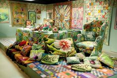 We have been looking through old photos and had to share these from Kaffe's 2013 exhibition 'A Life in Colour', at the Design Museum, London. More than a dozen needlepoint designs from Ehman, and sitting together they really sing.