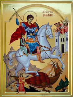Religious Icons, Religious Art, Hl Georg, Greek Icons, Saint George And The Dragon, Byzantine Icons, Orthodox Icons, Christian Art, My Heritage