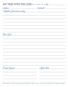 Quiet Time printable - date, passage/devotion, journal area and prayer requests and action items all on one page!
