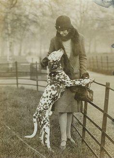 ~ Woman with a Dalmatian, 1920s, London - Black & White ~
