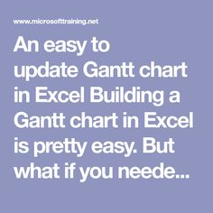An easy to update Gantt chart in Excel Building a Gantt chart in Excel is pretty easy. But what if you needed to update any of the tasks? This would usuall