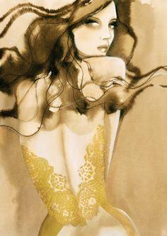 Beautiful representation of lace Only Fashion, Fashion Art, Fashion Design, Jacqueline Bissett, Stina Persson, Pin Up Illustration, Fashion Sketches, Fashion Illustrations, All About Fashion