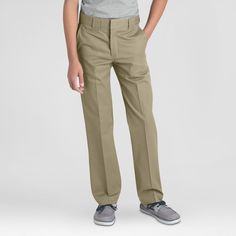 Dickies Boys' Slim Straight Pants - Desert Sand, Size: 14