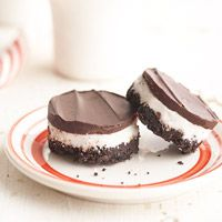Peppermint Crumb Bites-These chocolate and mint layered dessert bars are cut into shapes after they're baked. Choose circles, squares, or even stars!