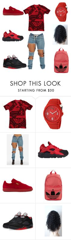 """all about money"" by aleisharodriguez ❤ liked on Polyvore featuring Puma, NIKE and adidas Originals"