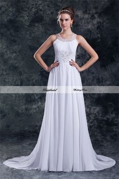 Wholesale Chiffon A LIne Applique Beading Floor length Train Wedding Dress Custom made Plus size  WD83790