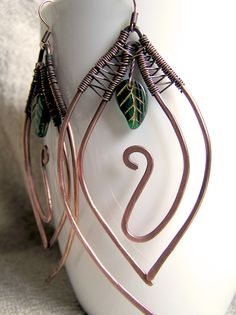 Copper Double Leaf Beaded Earrings by Wire Moon