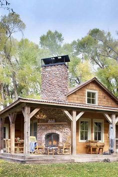 Rustic Cabin Renovation: Reclaiming a Fishing Ranch - Cabin Living Love the outdoor fireplace Plan Chalet, Farmhouse Front Porches, Rustic Farmhouse, Rustic Porches, Cabin Porches, Farmhouse Plans, Farmhouse Style, Log Cabin Homes, Tiny Cottages