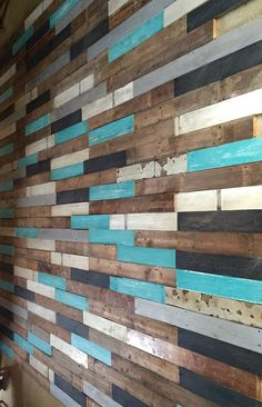 Wall cladding reclaimed and distressed painted timber Wooden Wall Art, Wooden Walls, Pallet Wall Decor, Pallet Walls, Timber Walls, Timber Panelling, Wood Cladding, Pallet Painting, Simple Furniture