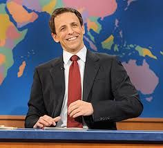 Seth Meyers doing his thing on Weekend Update. The smile.....