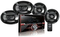 """Amazon.com: Pioneer FXT-X7269BT Package: CD Receiver Double Din, Pair 6.5"""" 2-Way & Pair 6""""x9"""" 3-Way Speakers Android Auto, Best Android, Double Din Car Stereo, Rockford Fosgate, Head Unit, Audio In, 2 Way, Speakers, Pairs"""